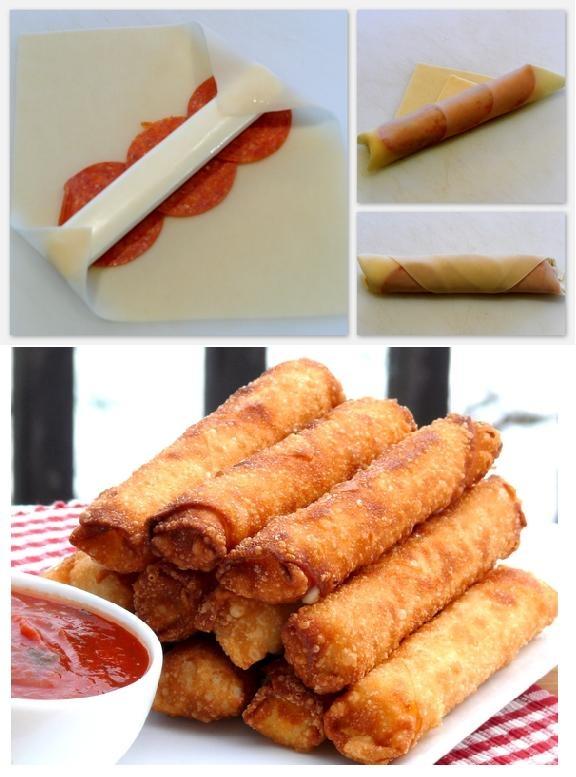 Palitos fritos de mozzarella con pepperoni