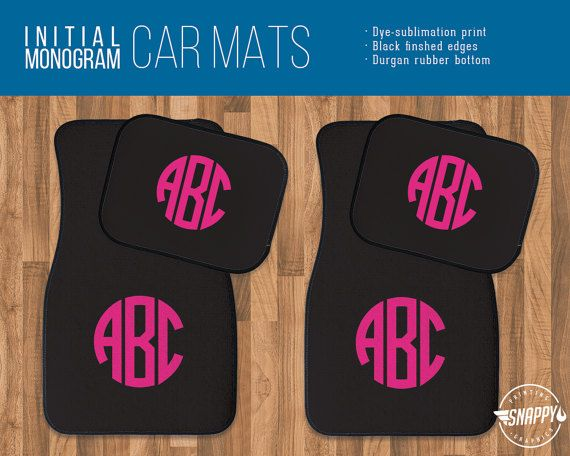 Circle initial monogram custom color car mats personalized gift high quality dye