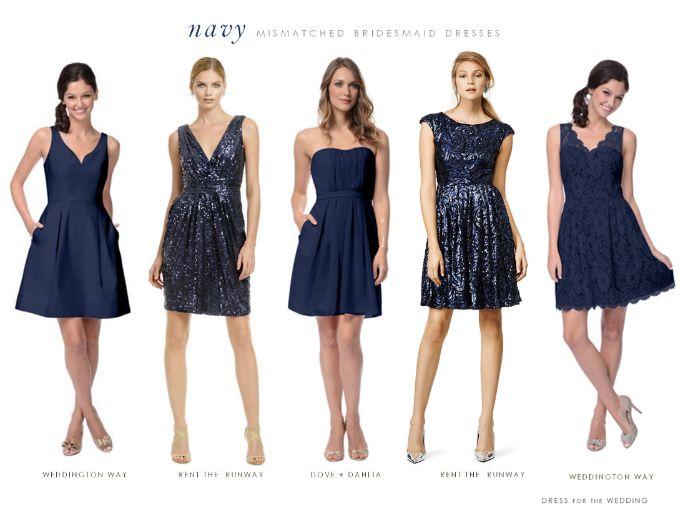 navy blue mix and match bridesmaids dresses cocktail length dresses