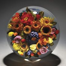 "Melissa and Rick Ayotte - 'Indian Summer' Art-Glass 5""dia floral Paperweight♥•♥•♥"