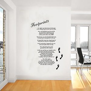 footprints in the sand poem   Footprints in the Sand Giant Wall Art, Poem, Decal, Mural,Stickers ...