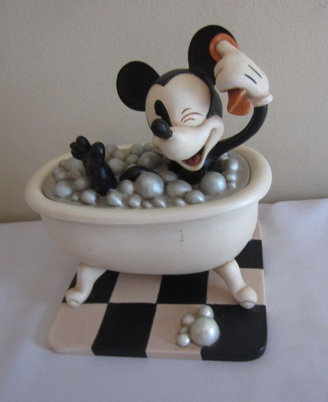 Disney Springs Vintage Mickey Mouse Hand Painted Bathroom Set Soap  Toothbrush