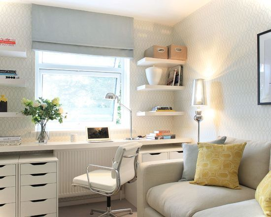 White Transitional Small Home Office