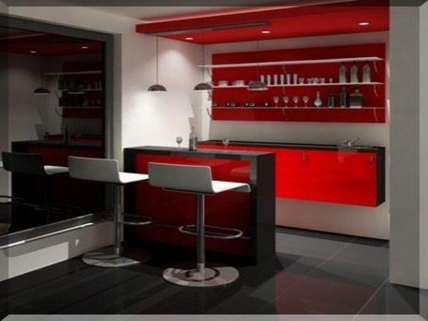 Modern Minimalist Home Bar red looks so rich #interiordesign portable bar, home bar design, bar stools, ceiling design, bar counter, lighting design, bar trolley, wine cellar