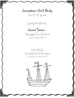 38 page FREE Jamestown Unit study based on James Towne: Struggle for Survival by Maricia Sewall. For use with 4th to 8th graders. Can also be used as a Jamestown Resources with many links.| Harrington Harmonies #Freebies #homeschool #unitstudies