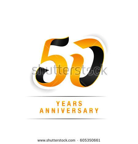 50 Years Yellow and Black  Anniversary  Logo Celebration Isolated on White Background