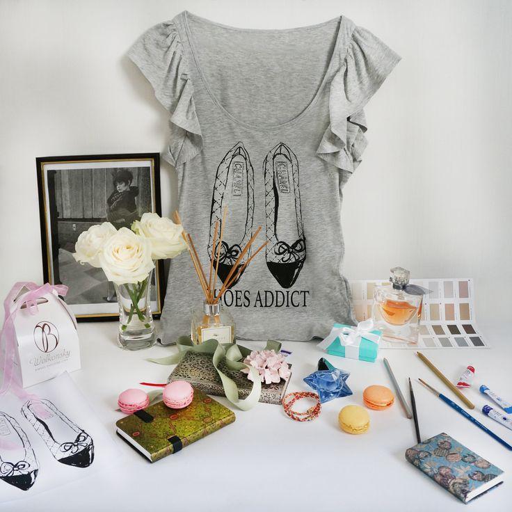 """Дизайнерские женские футболки """"Shoes Addict. Chanel"""". размеры S. Тончайший летний хлопок. !!!! ЦЕНА 490 руб !!!!!"""