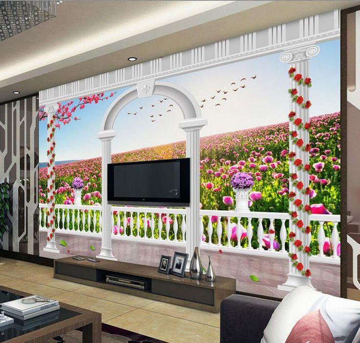 Дешевое Бесплатная доставка современные стены 3D фрески обои, hd романтические цветы 3D росписи для тв диван фоне стены papel де parede, Купить Качество Обои непосредственно из китайских фирмах-поставщиках:                                                     Примечание: