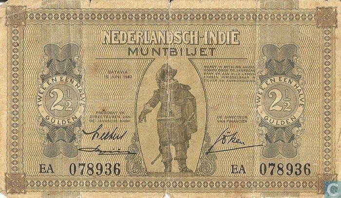 Bankbiljet - Muntbiljet Nederlandsch-Indië - Nederlands Indië 2,5 Gulden