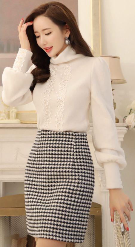 StyleOnme_Houndstooth Print H-Line Mini Skirt #cute #feminine #skirt #koreanfashion #kstyle #kfashion #winterlook #seoul