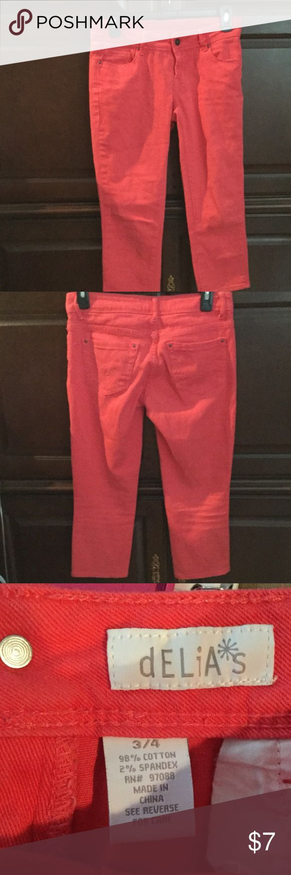 Coral Capris in great condition. Delia's coral stretch denim.    Great capris to get ready for spring. delia,s Pants Capris