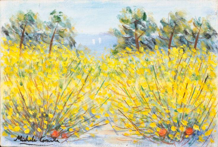 """MICHELE CASCELLA (Ortona 1892 – Milano 1989) OLIO su tela """"ginestre"""", firmato in basso a sinistra (con autentica dell'artista su foto N. Rif. F/157)."""