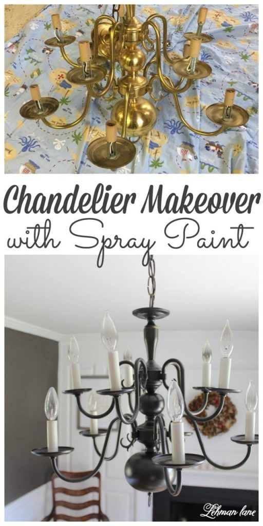Looking for an easy chandelier makeover! Stop by to see how we transformed my dining room chandelier with spray paint #spraypaint #diningroom #lighting #chandelier http://lehmanlane.net