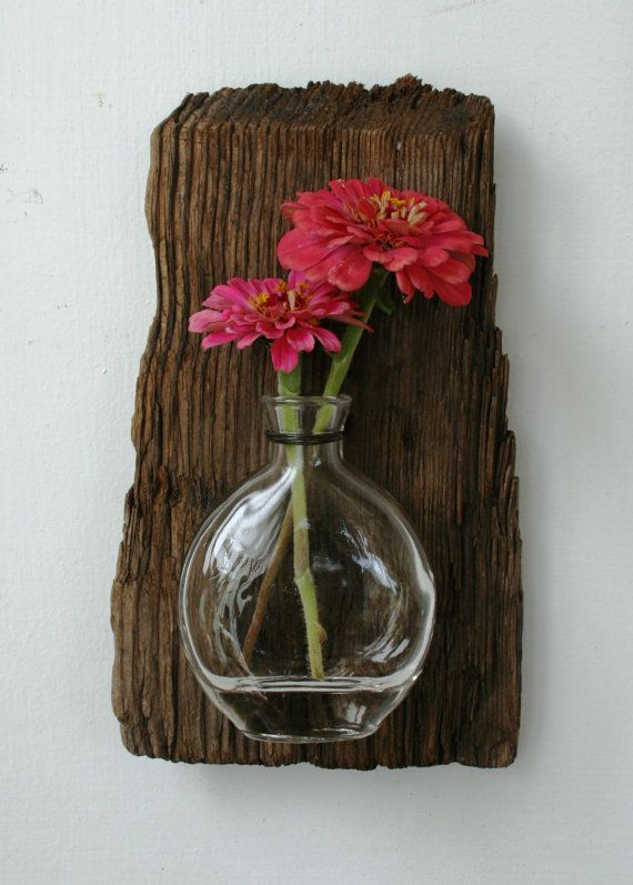 Driftwood, Reclaimed Wood Vase, Rustic Home Decor, Beach Home Decor (Made to Order) $38.00