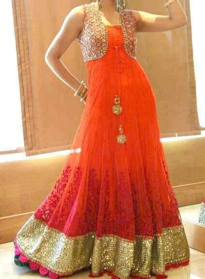 Floor length anarkali with a golden jacket https://www.facebook.com/nikhaarfashions