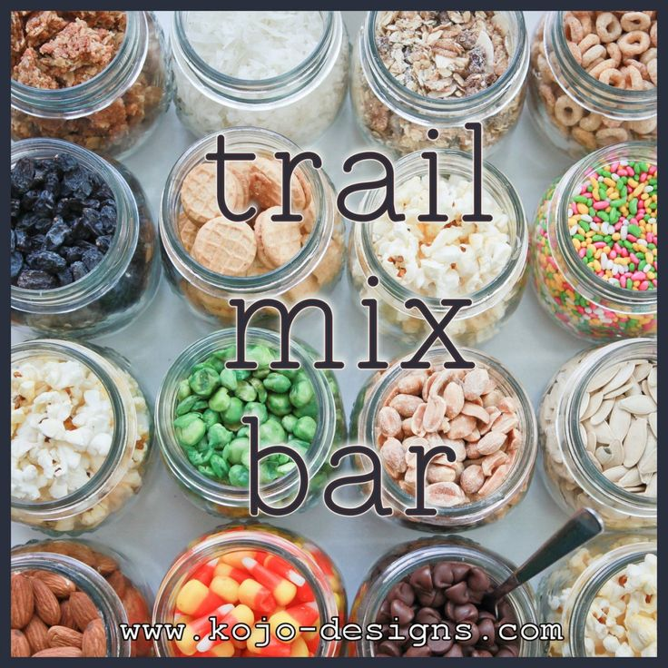 """Ideas for trail mix recipes and other assorted snack foods like wasabi peas, Cheerios, candy-coasted fennel seeds & more. Think spicy, sweet and salty as themes. GIFT BASKET IDEA: Create several small jars of mixes and give them together in basket with a note """"snack attack""""."""