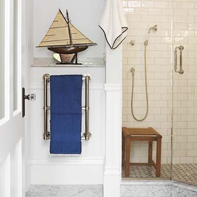 An unused bedroom becomes a functional bath towel warmer photos and wainscoting - Five modern gadgets for a functional bathroom ...