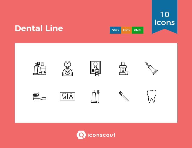 Dental Line  Icon Pack - 10 Line Icons