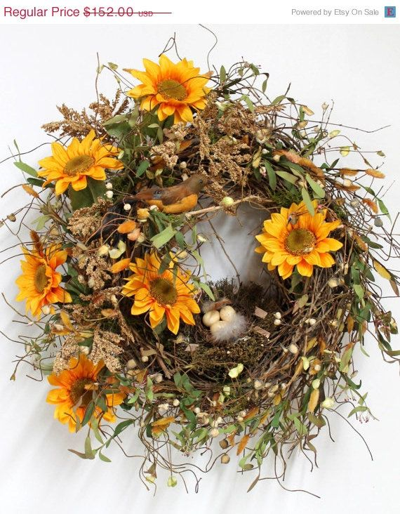 ON SALE Beautiful Yellow Sunflowers Fall Wreath by FloralsFromHome