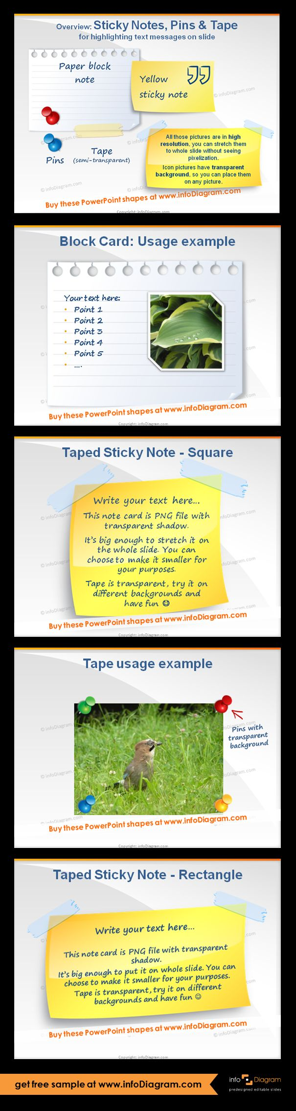 Graphical elements for PowerPoint - Sticky Notes, Pins, Adhesive Tape pictures. Bitmap pictures inside PowerPoint file PP TX, resolution for full slide size. Usage example of a block card, taped square and rectangle post-its, tape usage example. Picture shapes for enhancing PowerPoint presentations:  to underline a quote or main message of the slide, to put over photograph (glue it, pin it), to simulate real paper post-it wall.