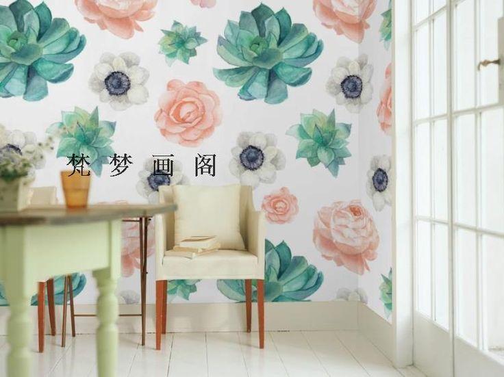 Бесплатная доставка акварель окрашенные цветы детская комната гостиной фотообоями(China (Mainland))