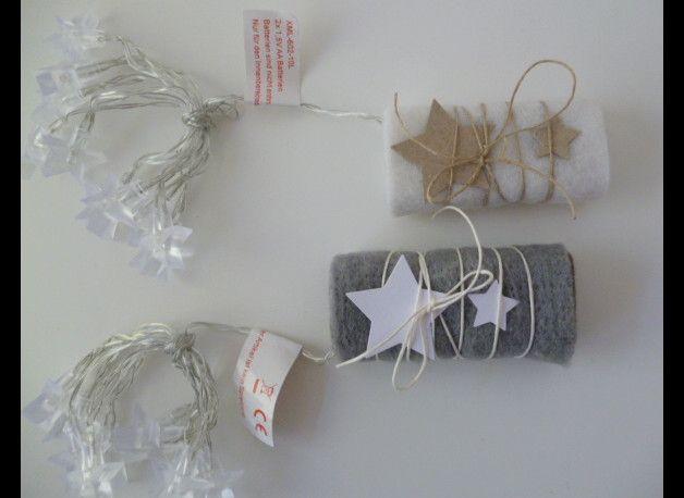 Deko und Accessoires für Weihnachten: Lichterkette Sterne warmweiß made by Deko und Papierwelt via DaWanda.com