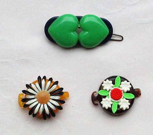 Vintage Kinder-Accessoires - 2 Zopfhalter, 1 Haarspange, 60er Jahre, Vintage  - ein Designerstück von Speicherfunde bei DaWanda