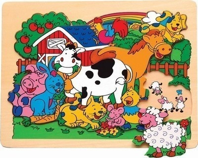 Puzzle Raised Wooden Small Farm Animal | eBay