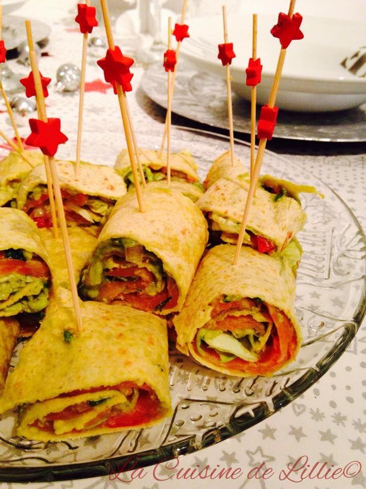 Wraps Guacamole et saumon fumé  Recette: http://lacuisinedelillie.wordpress.com/2014/12/20/wraps-au-guacamole-et-saumon-fume/