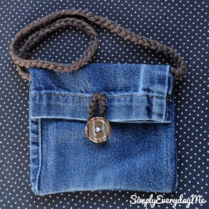 Up-cycle Blue Jean Mini Purse With Crochet Strap  Vintage Button Accent - Blue Jean/Vintage Button.