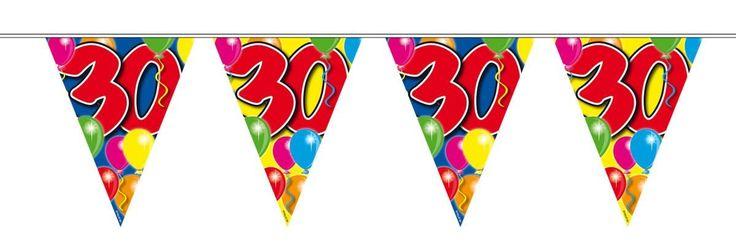 Vlaggenlijn ballonnen: 30 jaar - 10 meter - Vlaggenlijn ballonnen: 30 jaar - 10 meter