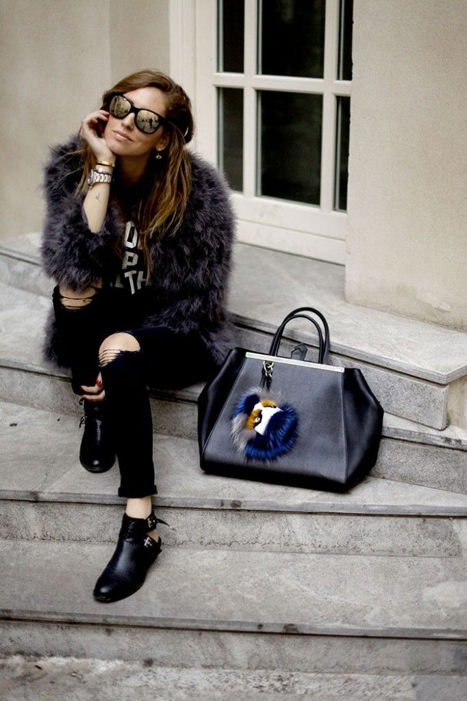 THE BLONDE SALAD X STEVE MADDEN CROC BOOTIES (available on Stevemadden.com) J BRAND RIPPED JEANS PRIVATE PARTY SWEATER PANDORA BRACELET MINUSEY OSTRICH FEATHER COAT FENDI TOUJOURS BAG AND FENDI BAG BUG CHANEL SUNGLASSES