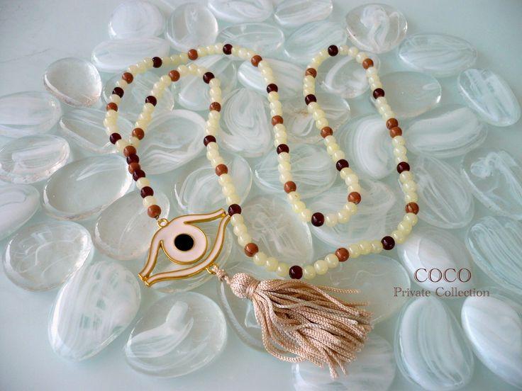#Coco Private Collection Ροζάριο μήκους 50cm με γυάλινες χάντρες και μάτι με επίστρωση σμάλτου. Κωδικός 8102 - Τιμή 25 ευρώ