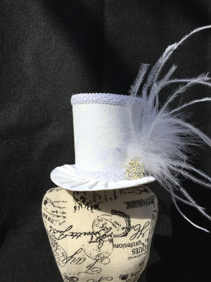 White Damask Mad Hatter Mini Top Hat for Wedding. Dress Up
