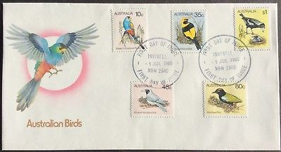 1980 Australian Birds 10c 35c 45c 80c $1 Set of 5 First Day Cover Canc Inverell