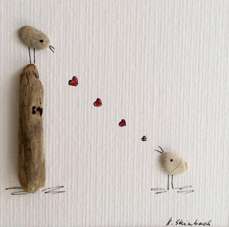 Lovebirds, Hochzeitstag, Geburtstagsgeschenk, Verlobung, Liebesherz. Kathrins Pebble Art   – Kieselkunst