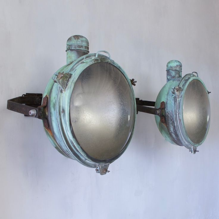 1920s Pair of Holophane Copper Searchlights