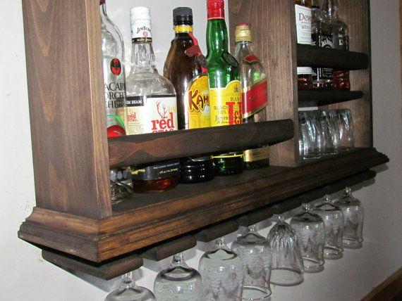 Mini Bar Espresso Stain Liquor Cabinet Wine Rack 3 X
