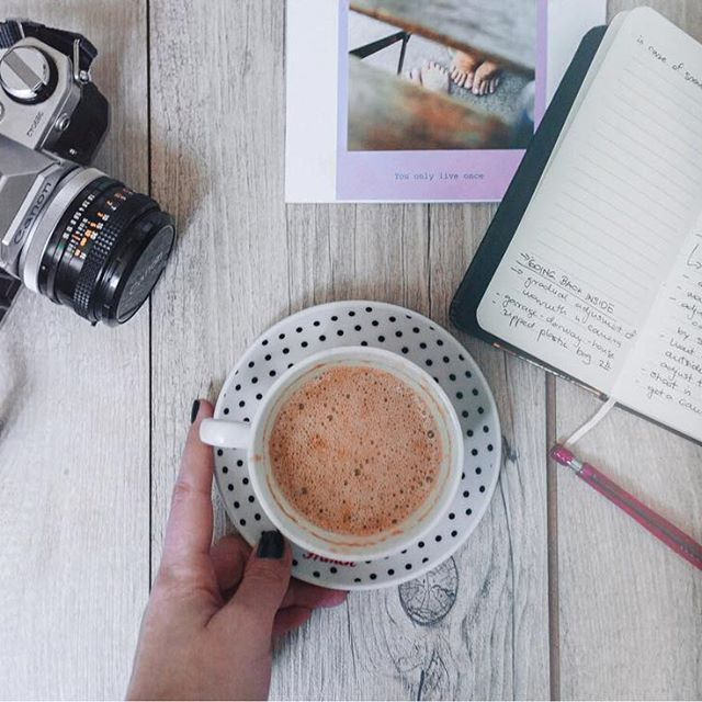 Parts of the Sun Photography  few favorite things, coffee, art journal, old vintage camera- canon ae-1 and photo of us