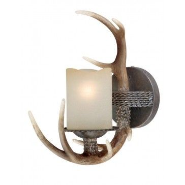 Check out the lighting at www.cowboycare.com  One Light Vanity Black Walnut   Rustic Cabin & Lodge Lighting   Antlers Etc - Rustic Cabin, Lodge & Hunting Decor