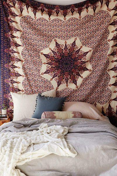 Verani Mandala Bohemian Boho Brown Gold Copper Wall Beach Bed Tapestry