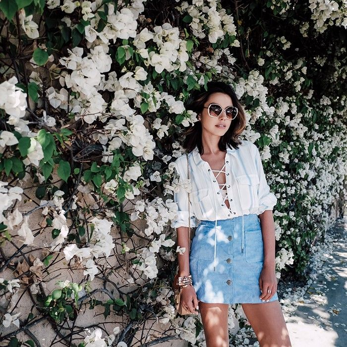 Lace Up Blouse, Baby Blue Skirt, VivaLuxury - Fashion Blog by Annabelle Fleur: ON INSTAGRAM LATELY Visit here for more: http://unic.io/e7e1qf