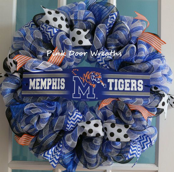 Made To Order Wreath Door UNIVERSITY MEMPHIS By PinkDoorWreaths 5500