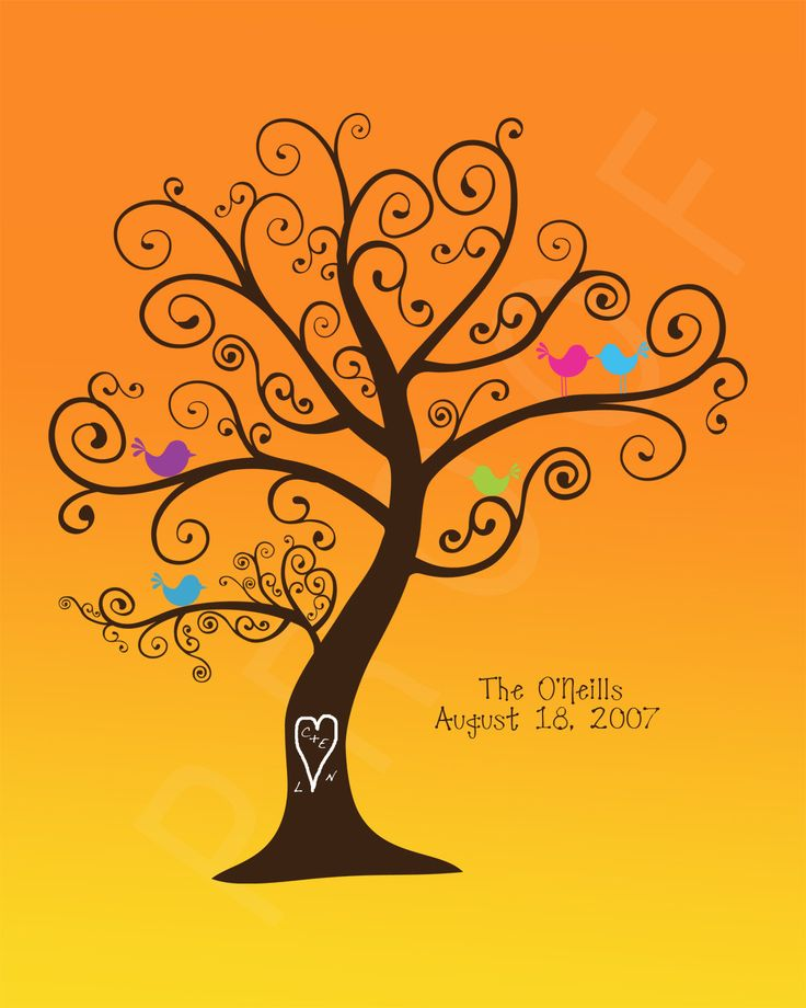 Personalized Family Tree  Birds in a Sunset par penguinpapyrus, $18,00