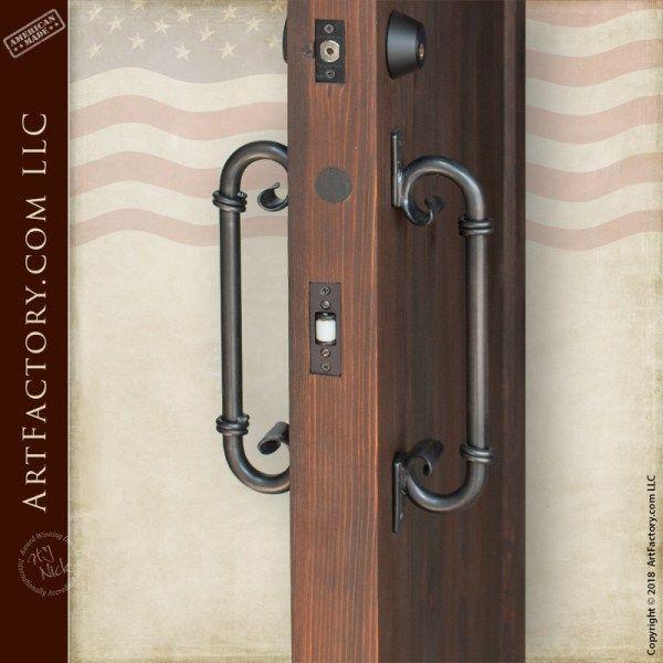 C Shaped Inverted Scroll Door Handles Custom Blacksmith