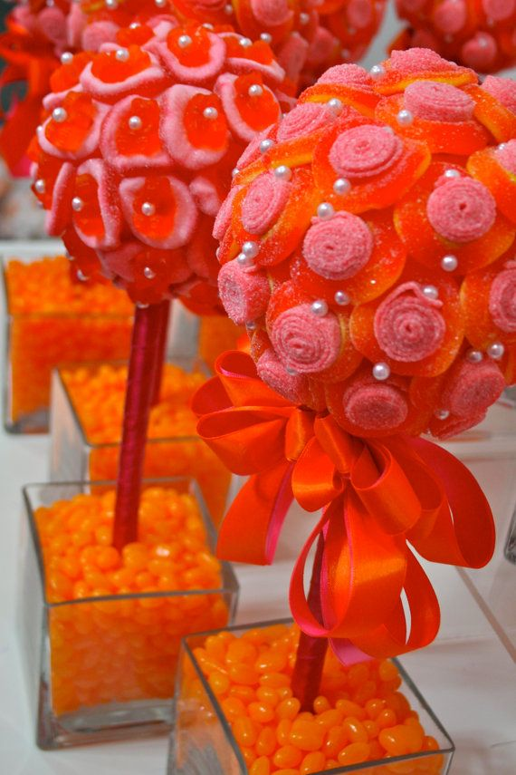 Orange Pink Mango Fuschia Sour Belt Candy Land Centerpiece Topiary Tree, Candy Buffet Decor Arrangement Wedding, Mitzvah, Party