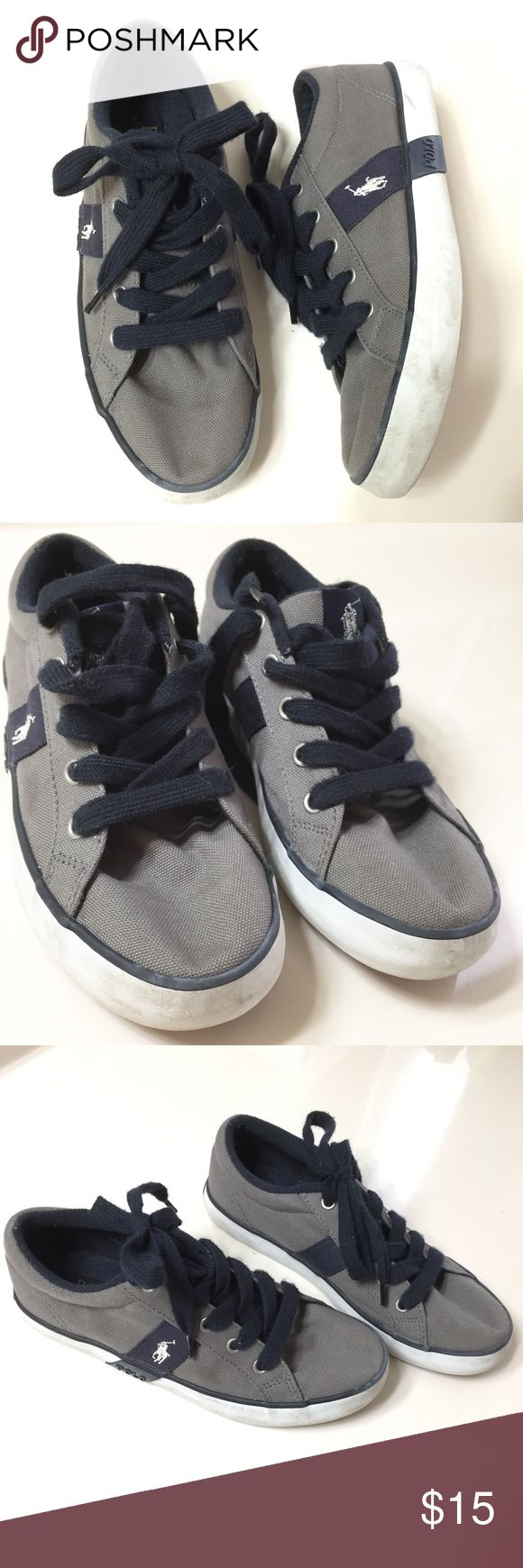🎀Sale! 20% Off Bundles🎀Polo by Ralph LaurenShoes Preloved condition. Gray with navy blue trim and laces. Shows scuffing on the white part around the shoes. No other damages. Polo by Ralph Lauren Shoes Sneakers