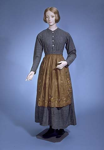 Work Dress, 1-Piece Catalogue number: CS*221532.001 Date: 1840-1850 Maker: Unknown Description: Work dress; white, brown, and two tones of blue check heavy cotton;