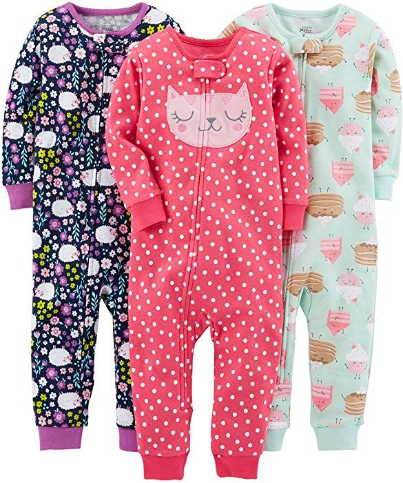 12fa9765a Amazon.com  Simple Joys by Carter s Baby Girls  Toddler 3-Pack Snug ...