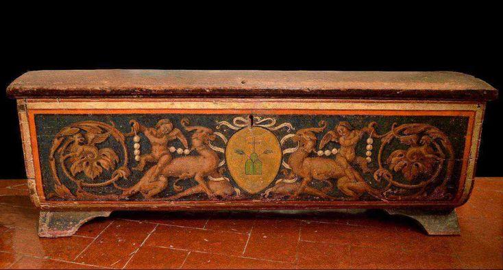 Cassone Dipinto, Siena XVI Secolo | Antiquariato Su AnticSwissu2060u2060u2060u2060